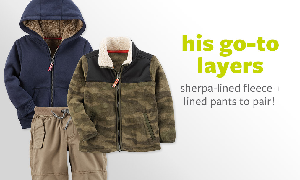 his go-to layers - sherpa-lined fleece + lined pants to pair!