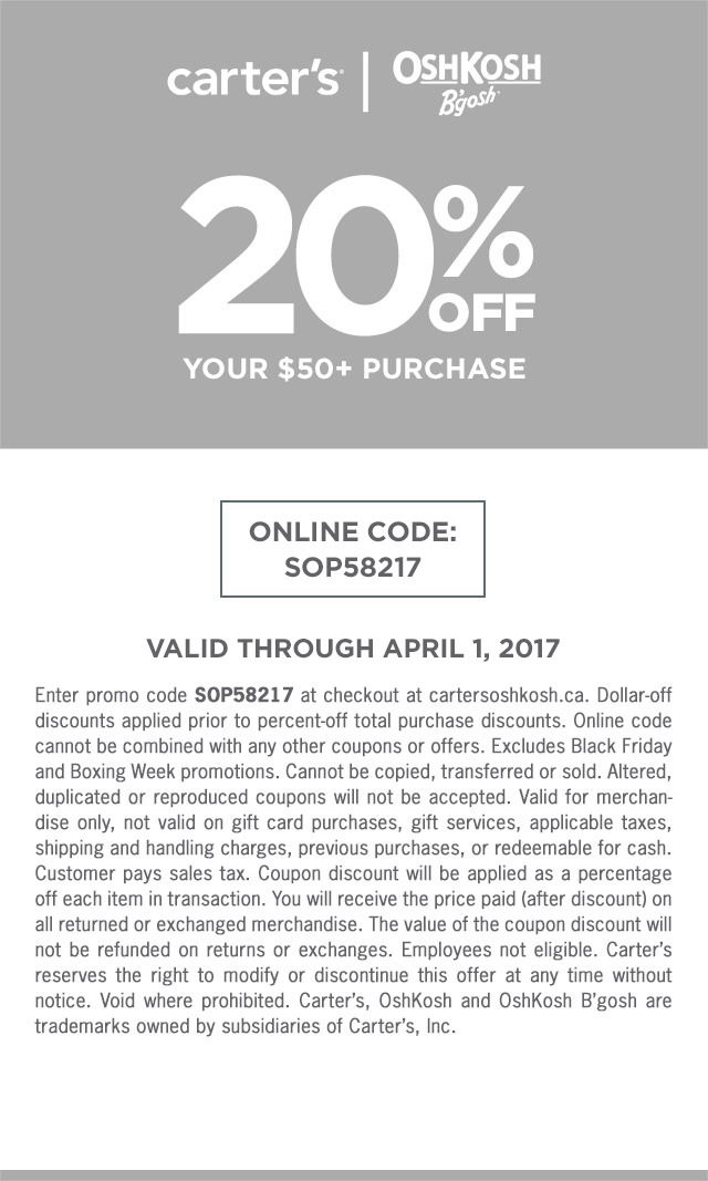 20% off your $50+ purchase with online code: SOP58217. Valid through April 1, 2017