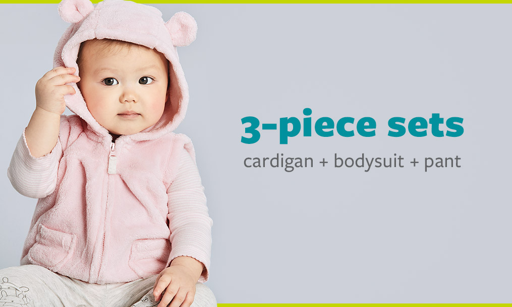3-piece sets - cardigan + bodysuit + pant
