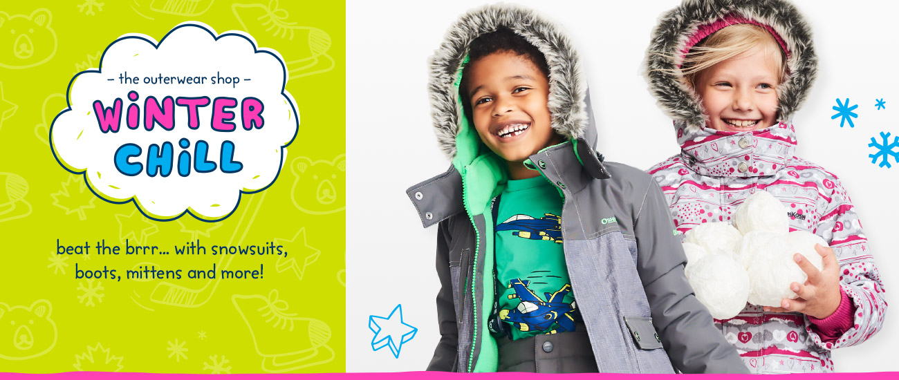 The Outerwear Shop - Winter Chill - beat the brrr... with snowsuits, boots, mittens and more!