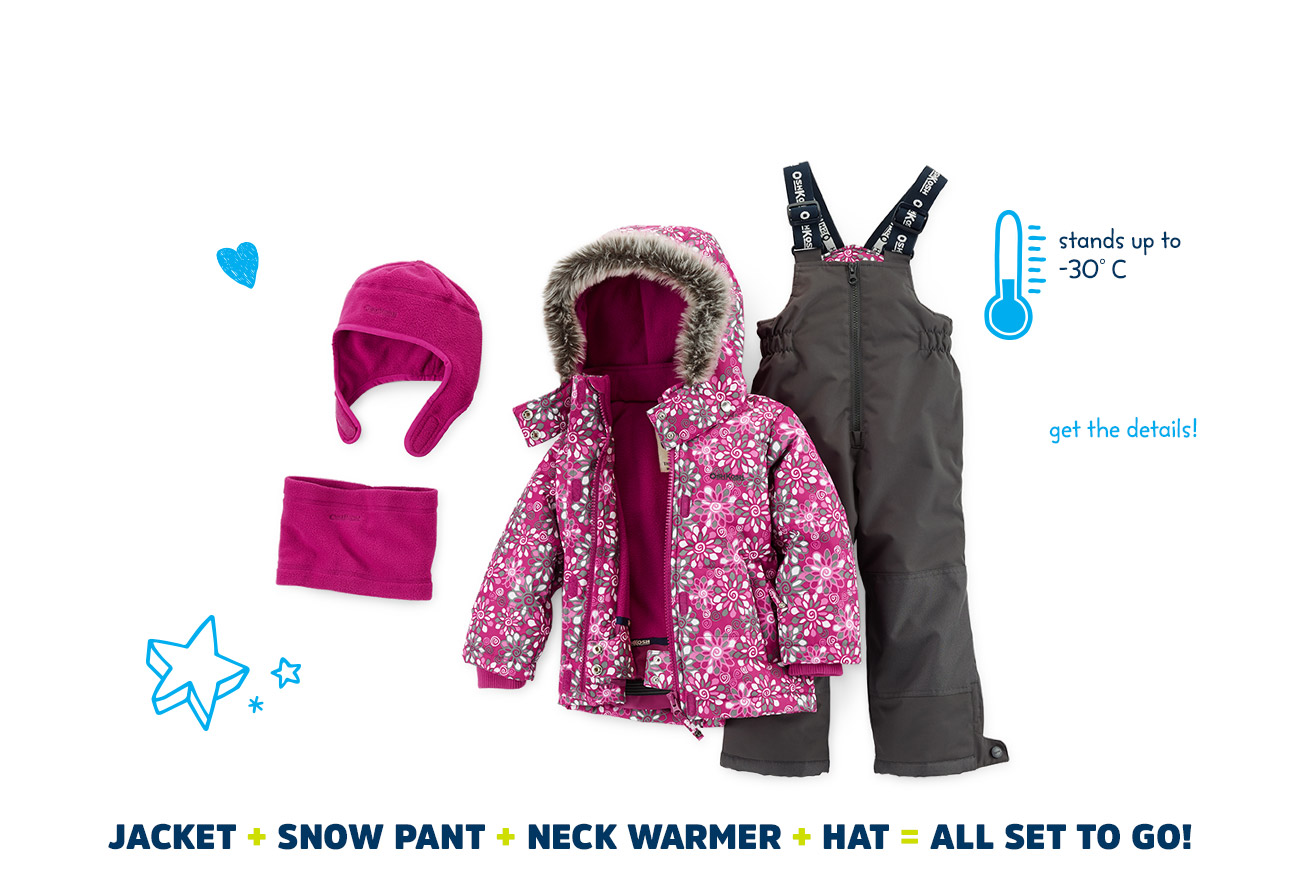 winter snowsuit set - stands up to -30° - Jacket + Snow Pant + Neck Warmer + Hat + = All Set to Go!