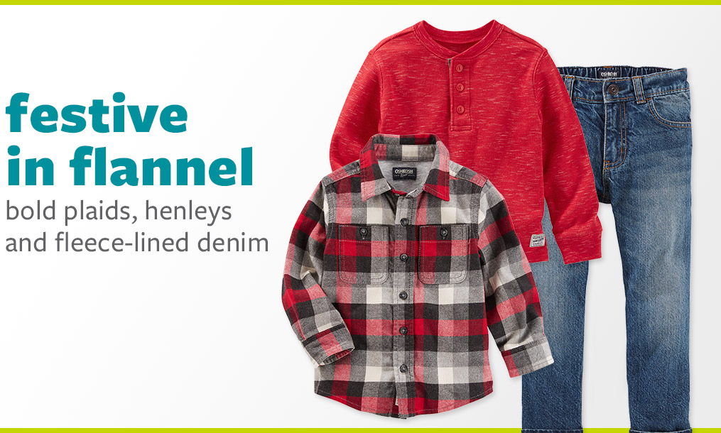 festive in flannel - bold plaids, henleys and fleece-lined denim