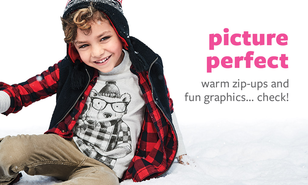 picture perfect - warm zip-ups and fun graphics... check!
