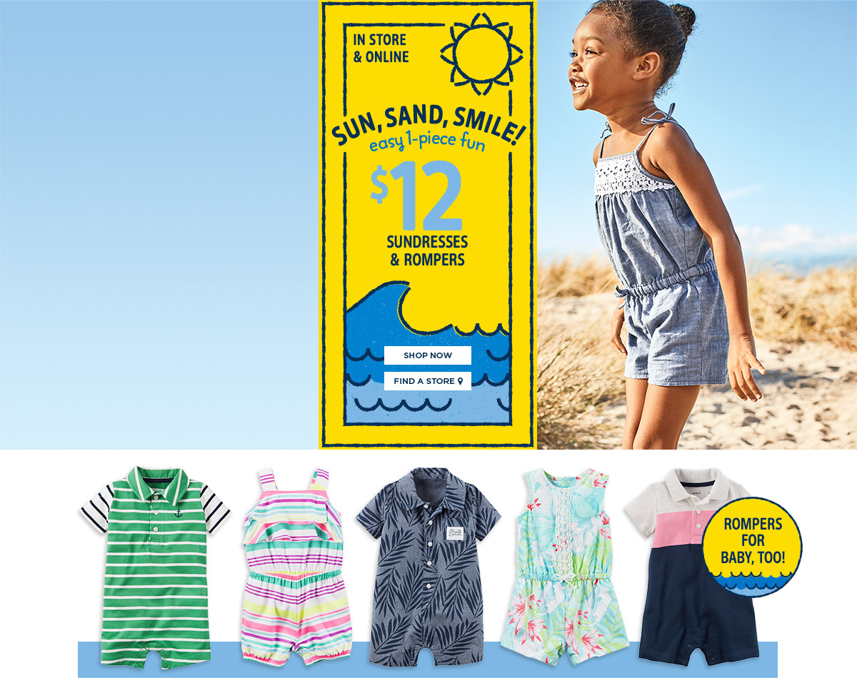 Sun, Sand, Smile! easy 1-piece fun $12 sundresses and rompers