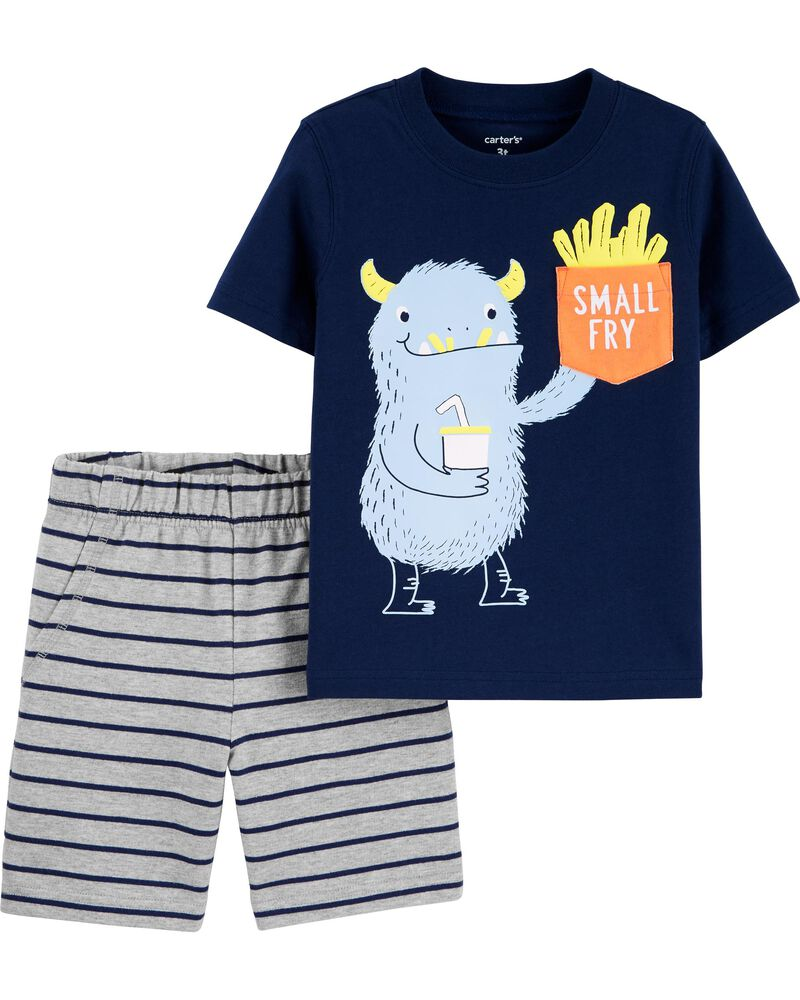 Ensemble 2 pièces t-shirt à poche Monstre et short rayé, , hi-res