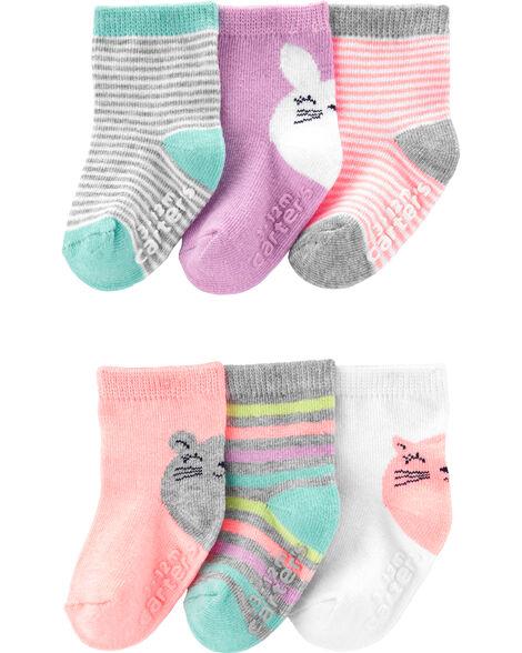 6-Pack Bunny Character Crew Socks
