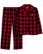 2-Piece Buffalo Check Coat-Style Fleece PJs, , hi-res