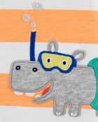 Barboteuse en coton à boutons-pression et hippopotame, , hi-res