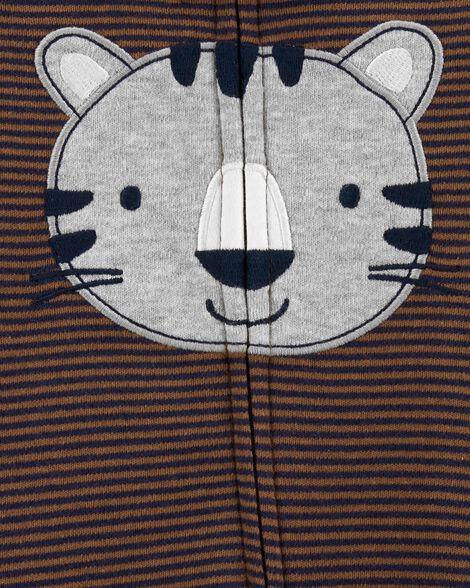 Grenouillère pour dormir et jouer en coton avec glissière 2 sens et tigre