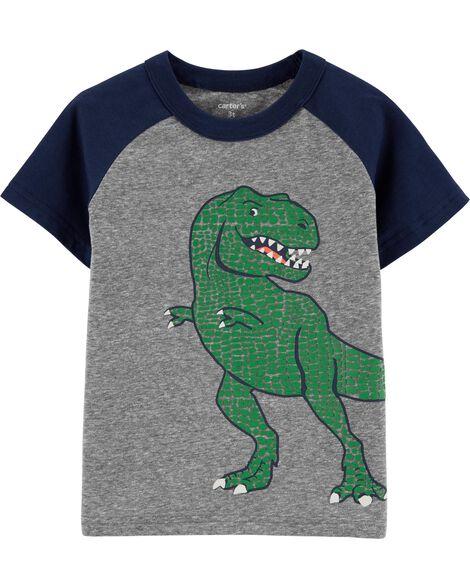 T-shirt en fil doux à manches raglan et dinosaure