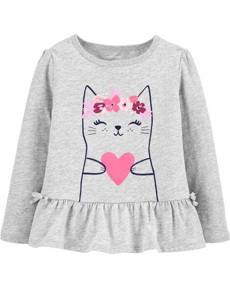 Heart Cat Peplum Jersey Top