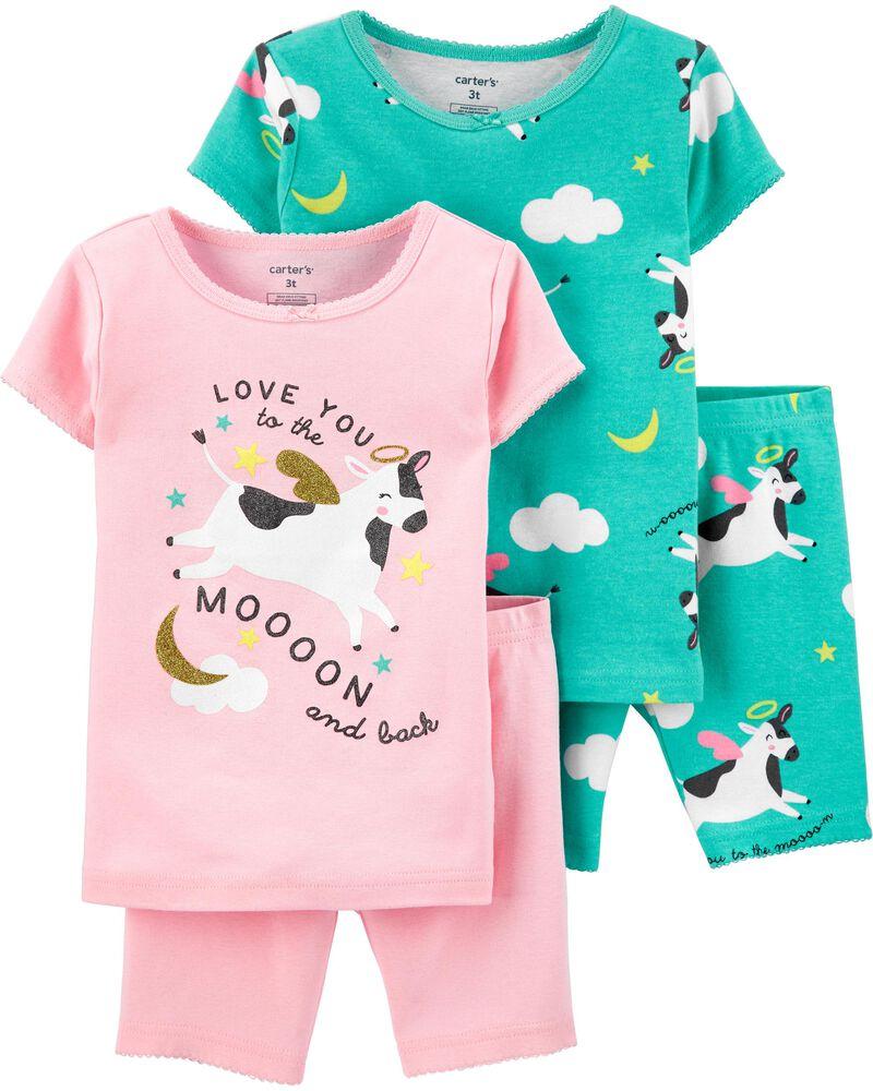 Pyjama 4 pièces en coton ajusté à moitf de vache, , hi-res
