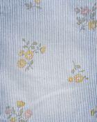 Floral Hickory Stripe Stretch Shortalls, , hi-res
