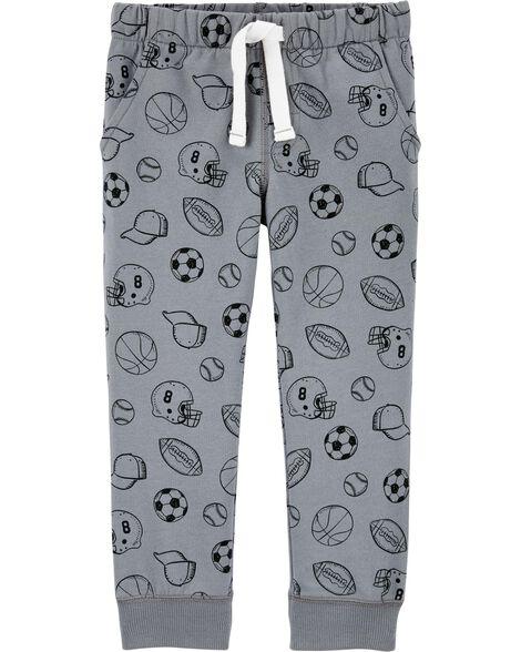 Pantalon de jogging en jersey bouclette motif sports