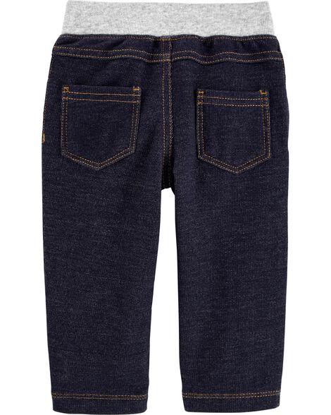 Pantalon à enfiler en tricot de denim