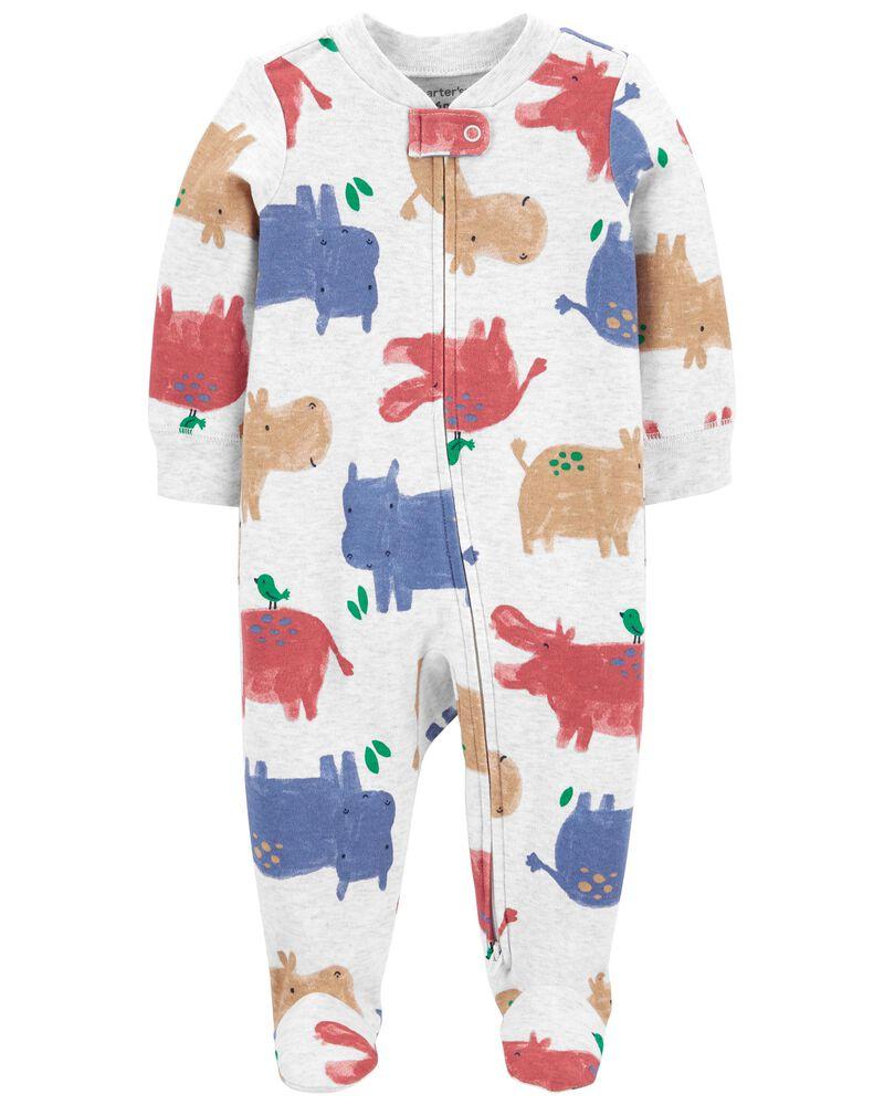 Hippo 2-Way Zip Cotton Sleep & Play, , hi-res