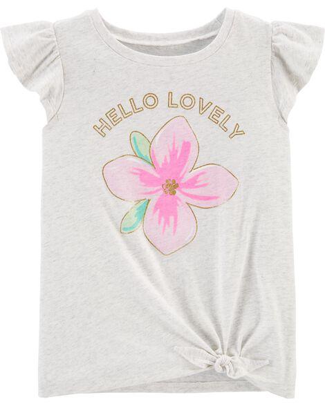 Hello Lovely Flower Tie-Front Jersey Tee