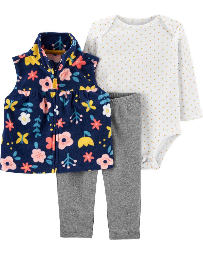 3-Piece Floral Little Vest Set, , hi-res