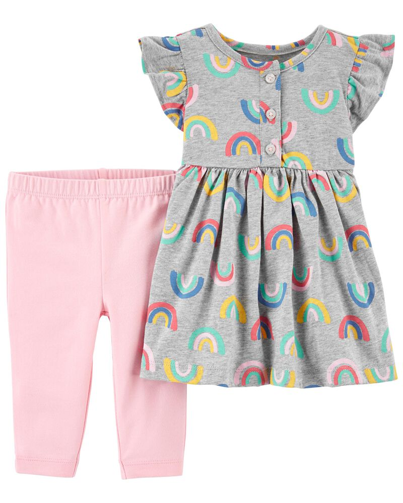 2-Piece Rainbow Dress & Legging Set, , hi-res