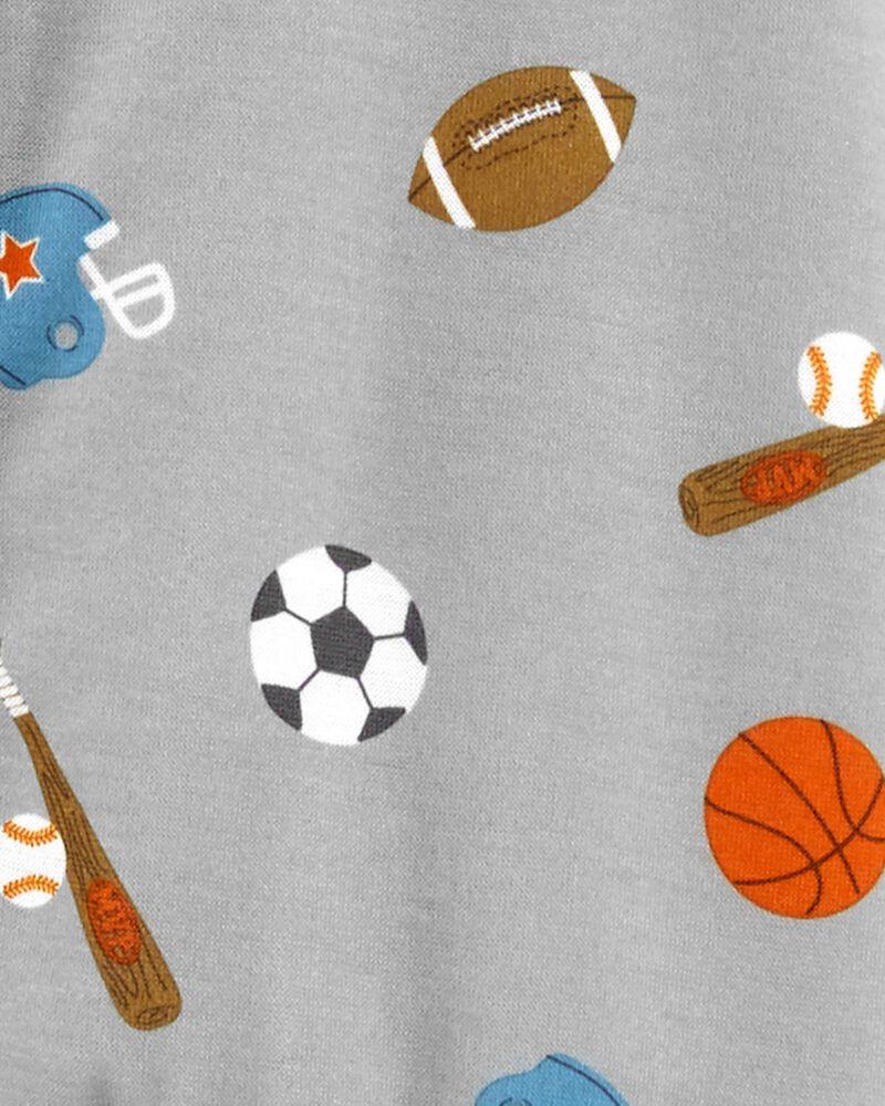 1-Piece Sports Print Loose Fit Footie PJs, , hi-res