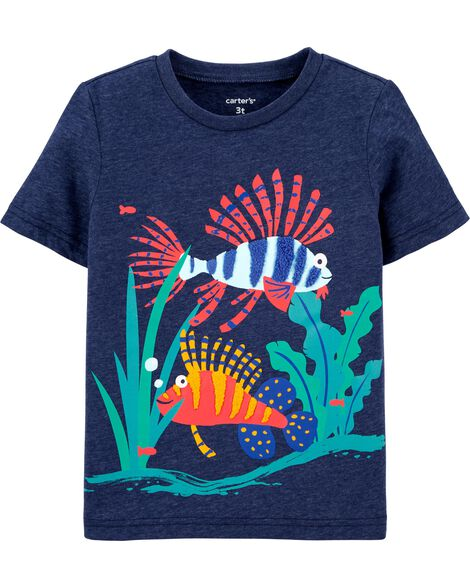 T-shirt en jersey chiné avec poisson