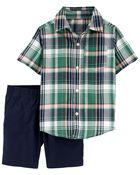 2-Piece Plaid Button-Front Shirt & Short Set, , hi-res