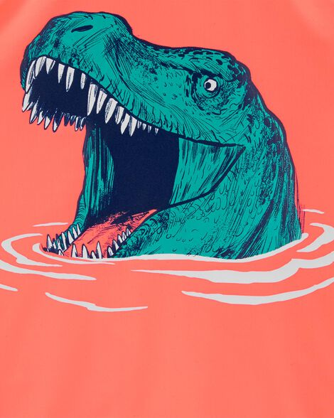 Maillot dermoprotecteur tyrannosaure fluo