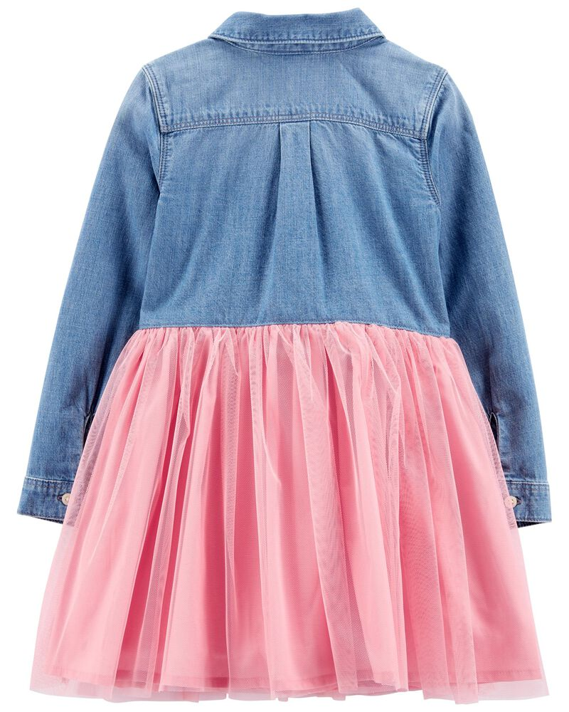 Denim & Tulle Dress, , hi-res