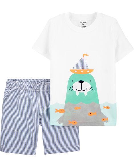 2-Piece Walrus Jersey Tee & Striped Short Set