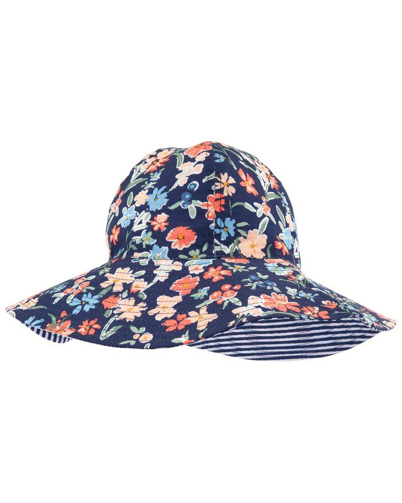 Chapeau cloche réversible fleuri, , hi-res