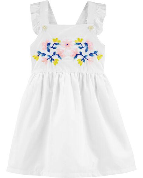 Embroidered Floral Poplin Dress