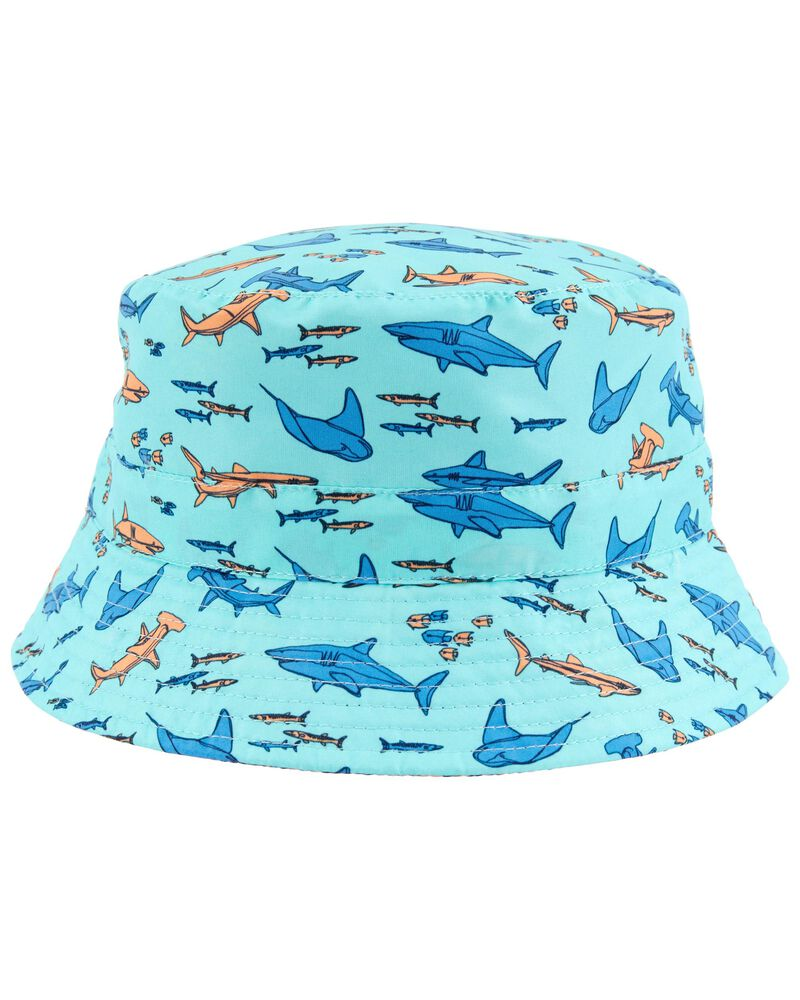 Reversible Shark Print Bucket Hat, , hi-res