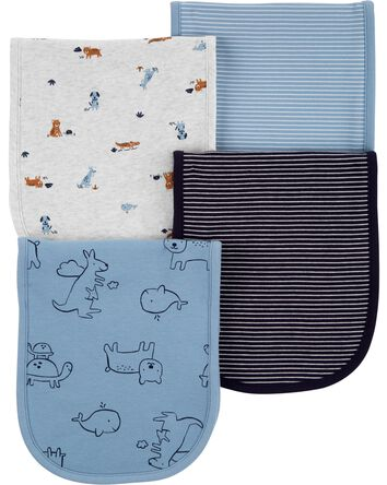 4-Pack Animals Burp Cloths