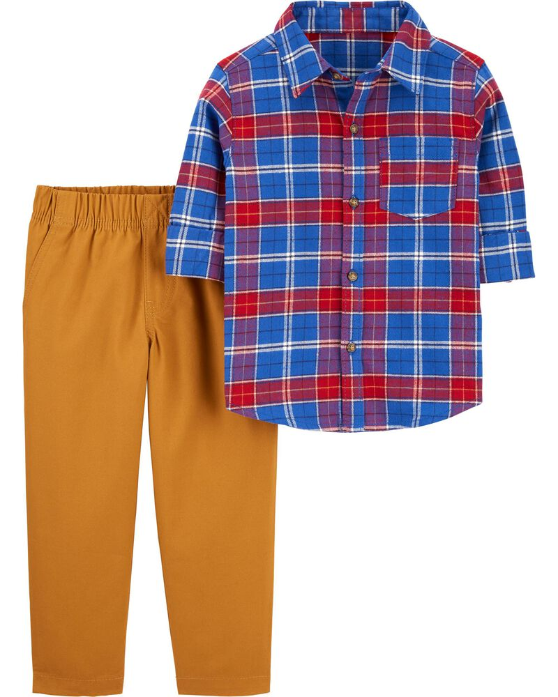 2-Piece Plaid Button-Front & Canvas Pant Set, , hi-res