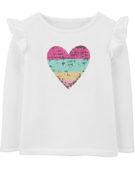 Sequin Heart Fleece Top
