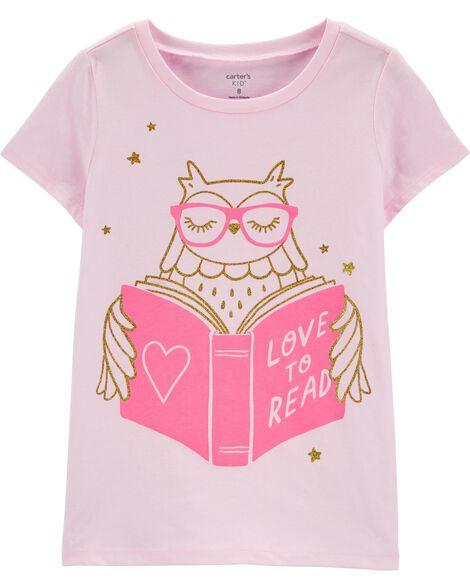 T-shirt en jersey à hibou qui lit