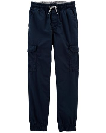 Jersey-Lined Poplin Joggers