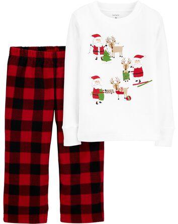 2-Piece Santa Fleece PJs