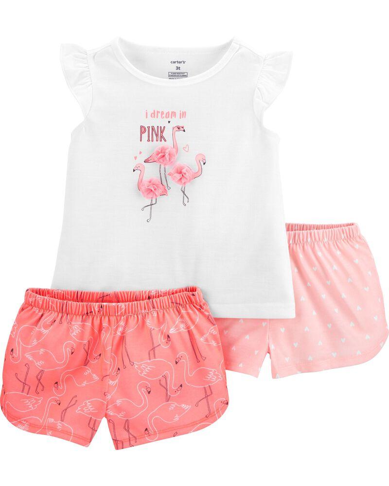 3-Piece Flamingo Poly PJs, , hi-res
