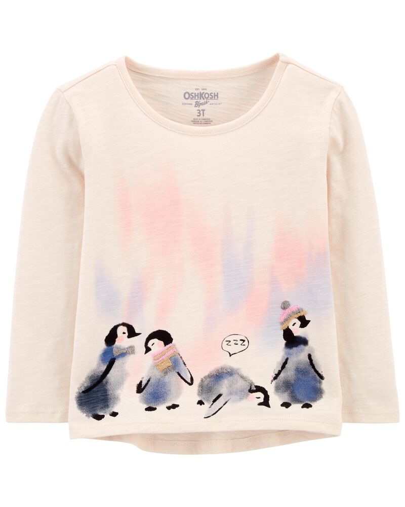 Haut en jersey flammé à pingouin, , hi-res