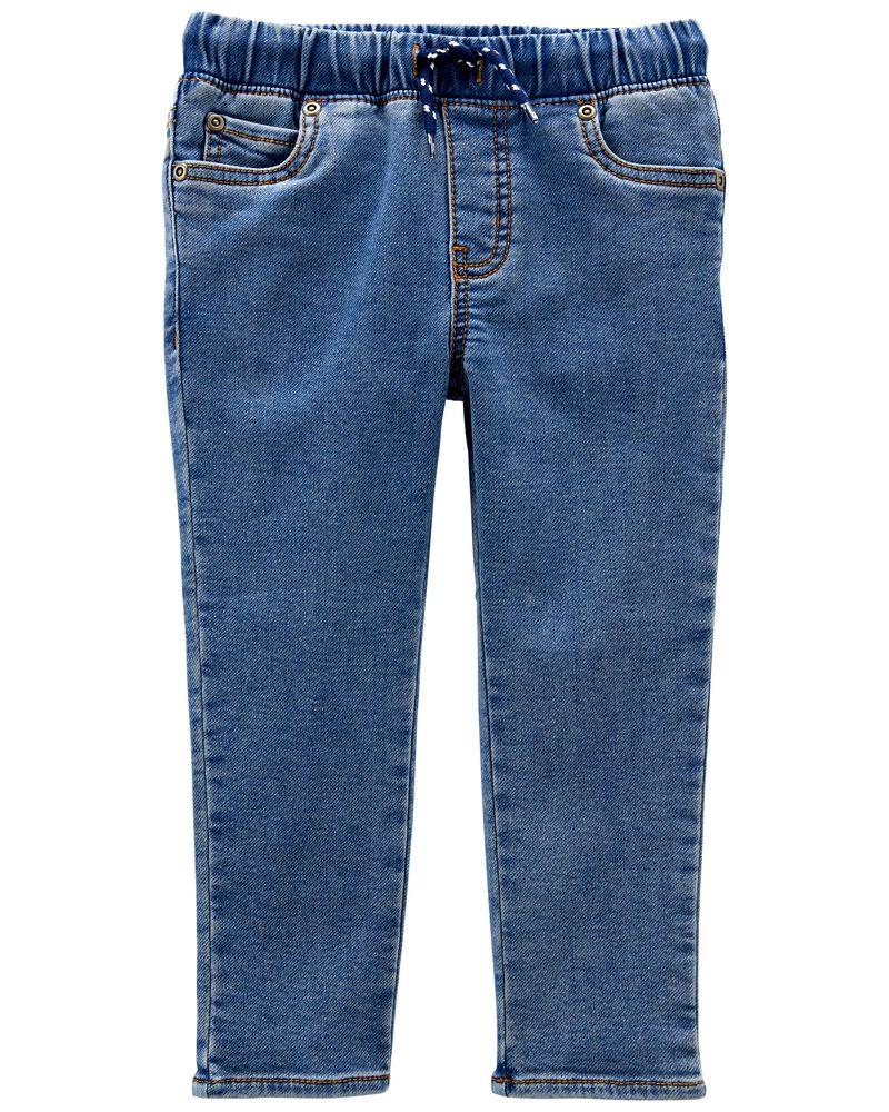 Pantalon en faux denim à enfiler, , hi-res