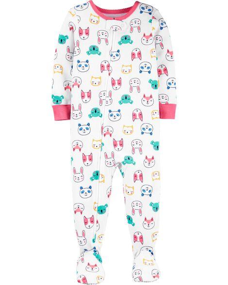 Pyjama 1 pièce à pieds en coton ajusté motif d'animaux
