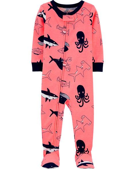 Pyjama 1 pièce à pieds en coton ajusté à motif baleine