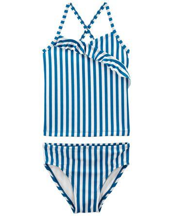 Striped Ruffle Tankini