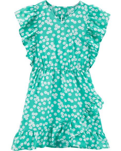 Robe style cache-cœur à motif de marguerites