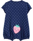 Strawberry Snap-Up Romper, , hi-res