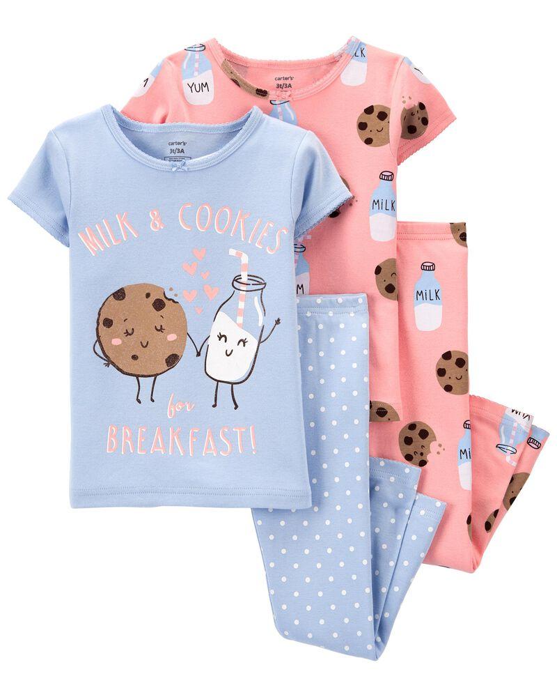 Pyjama 4 pièces en coton ajusté Milk & Cookies, , hi-res