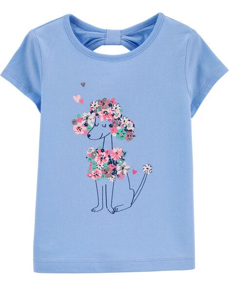 T-shirt en jersey fleuri à caniche