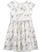 Floral Woven Sateen Dress, , hi-res