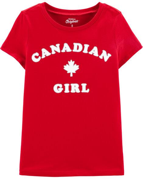 T-shirt à feuille d'érable fille canadienne